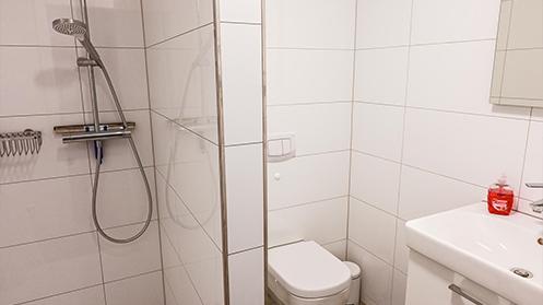 Bad mit Dusche in der Fewo in Ramsen in der Gemeinde Eisenberg